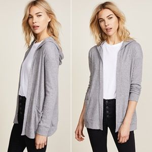 Chaser Open Front Hooded Cardigan in Grey